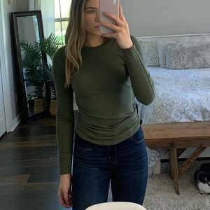 Army Green Ribbed LongSleeve Fitted Shirt